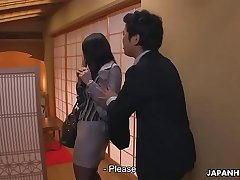 Japanese secretary is used by her boss at the restaurant