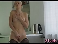 Sweet blonde in stockings solo play