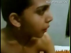 Amateur Arab girl playing with her man