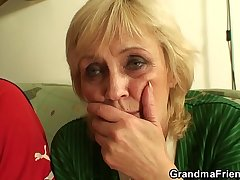 Old granny swallow two cocks