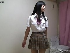 Japanese schoolgirl stripping completely nude