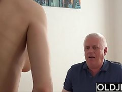 Young Girl Fucked by Old Man In Office Deepthroat Blowjob and Cumshot