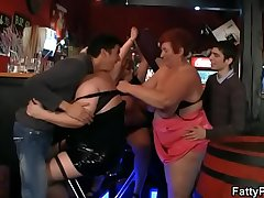 Three bbw have fun in the fat bar