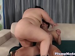 Highheeled chubby lady spoon fucked after bj
