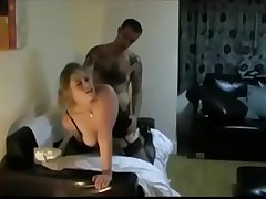 Hot blonde deepthroats and gets facefucked