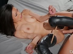 Roped Asian gal enjoys big phallus in shaved cunt