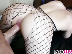 Fishnet wearing Nikki Bell gets fucked