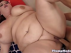 BBW redhead fucked while toying her pussy