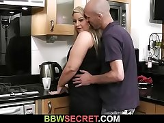 Wife found him fucking BBW at the kitchen