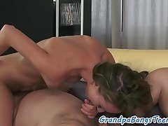 Smalltits babe pussyfucked by a senior