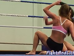 Busty beauties love wrestling while naked