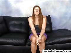Face Fucked Redhead whore Rose Red pukes on 2 cocks